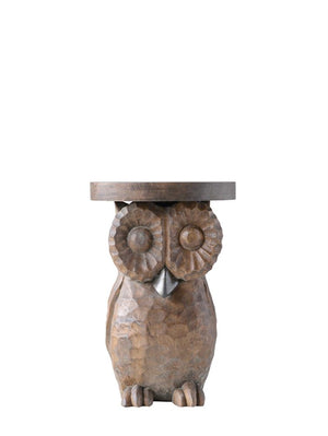 Hand-Carved Mango Wood Owl Table