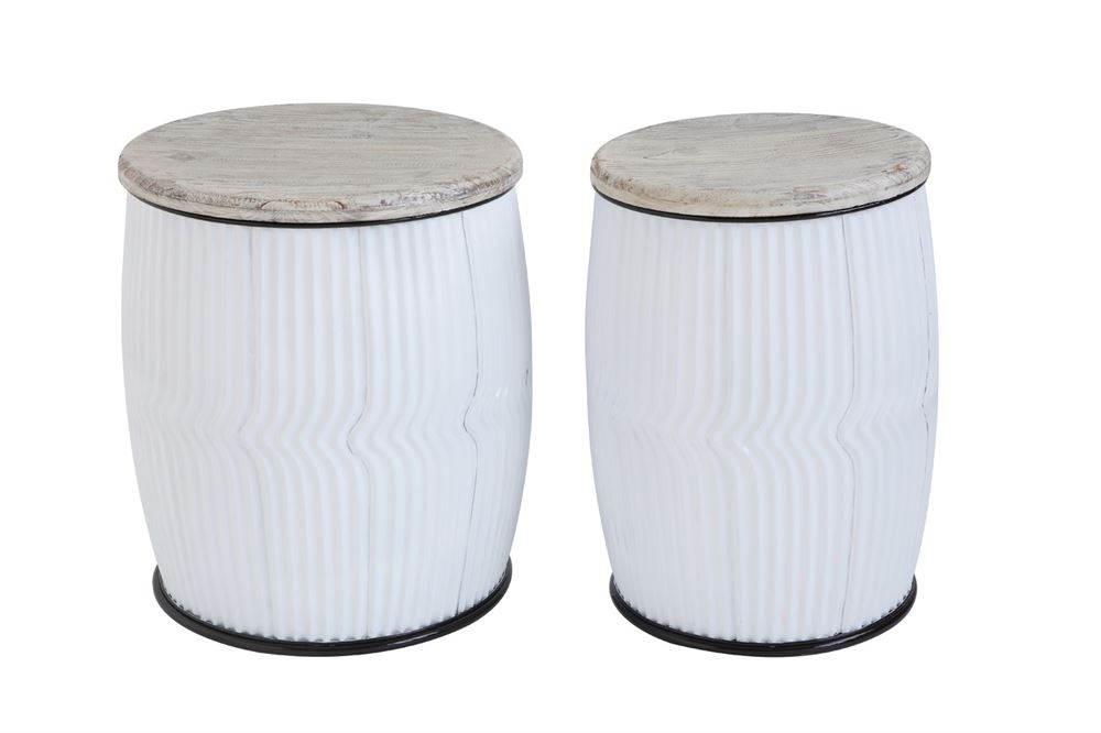 Round Wood & Metal Side Tables