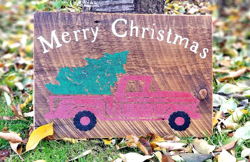 Christmas Sign- Merry Christmas With Red truck