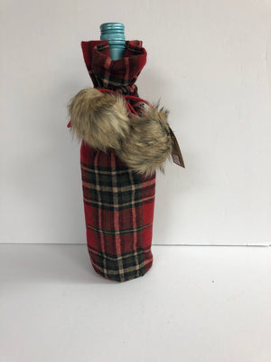 Red and Green Plaid Wine Bag