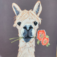 Llama wood frame wall decor