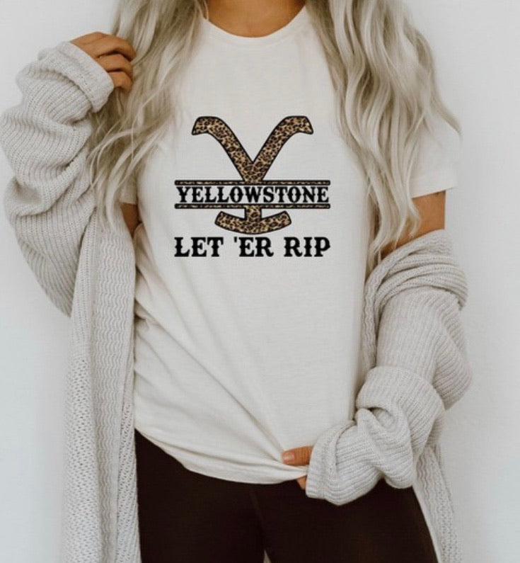 Yellowstone Let er Rip-T-Shirt- Cream