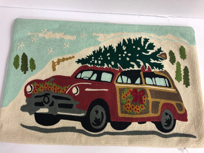 Embroidered Cotton Pillow with Car