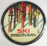 "Colorful skis "" Sun slopes scenery"" barrel end sign"