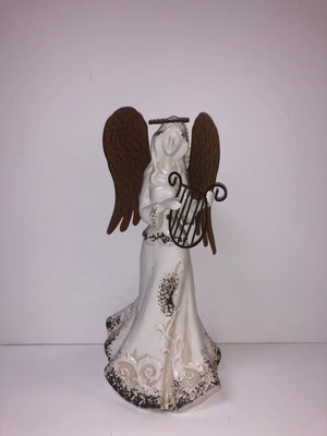Large Brown Winged White Glass Angel with Instrament