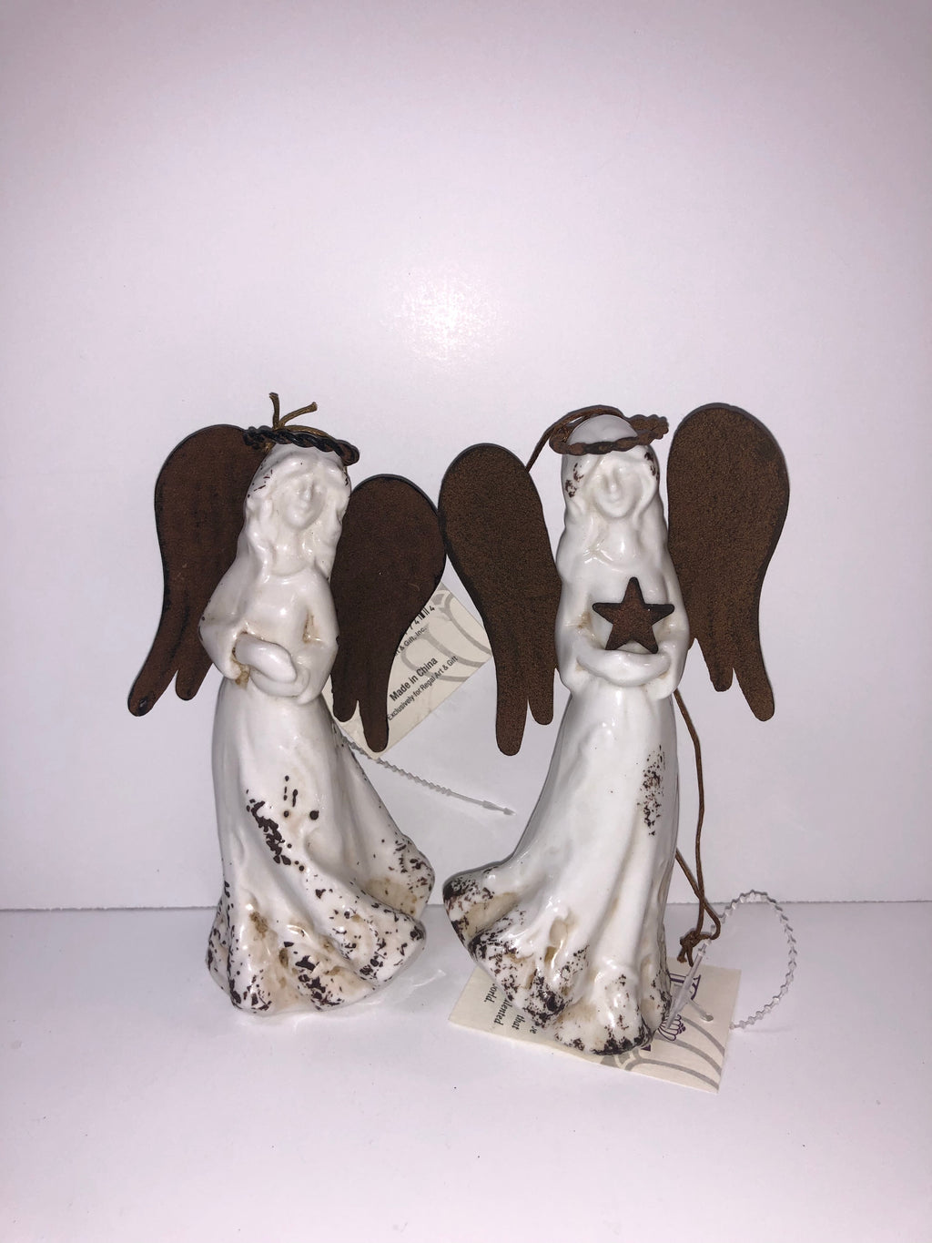 Small Brown Winged White Glass Angel with Star