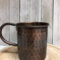 Hammered Antique Copper Straight Mug with Brim