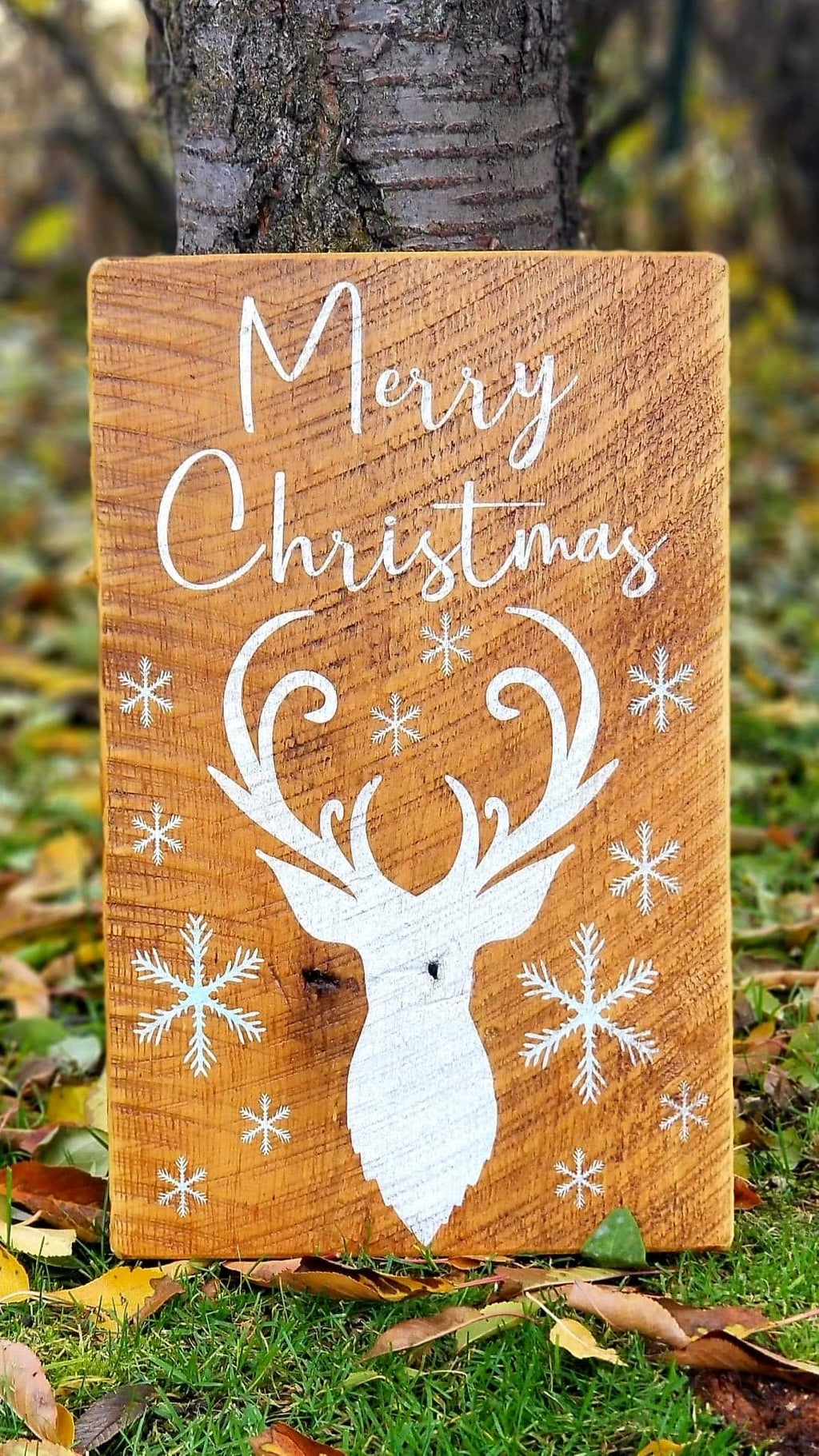 Christmas Sign- Merry Christmas With Deer and Snowflakes