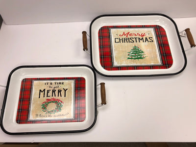 Merry Christmas Trays set of 2
