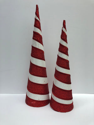 Red and White Cone tree set of 2