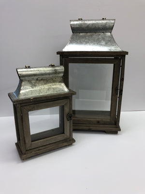 Set of 2 Galvanized tin and Wooden Lanterns