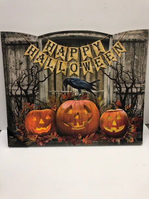 Happy Halloween Shuttered Lighted Canvas