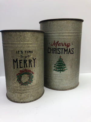 "20"" Christmas bucket set of 2"