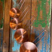 Copper Measuring Cups open handle S/4