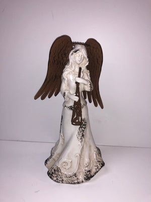 Large Brown Winged White Glass Angel with Bell