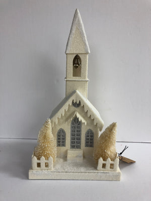 Cream Glitter Paper LED Church