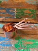 Copper Measuring Cups flat handle S/4