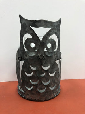 Galvanized owl candle holder