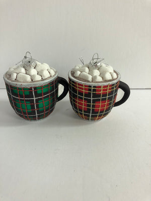 Plaid Hot Cocoa Mug Ornament