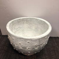 Red Label Platinum Bottoned Bowl White Washed with Gray Planter
