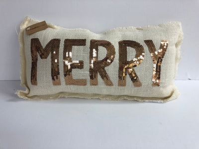 Merry Pillow Gold Sequin