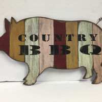 Country BBQ Pig Sign