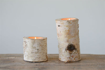 Birch Wood Log Tealight Holder w/ Glass Insert