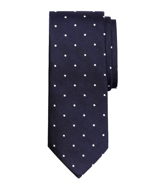 Navy Dotted Silk Tie - Shorter Ties