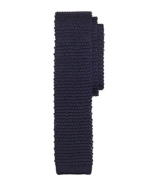 Navy Knitted Silk Tie - Shorter Ties