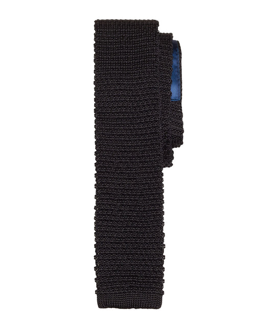 Black Knitted Silk Tie - Shorter Ties