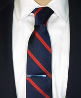 Navy / Red Repp Silk Tie - Shorter Ties