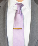 Purple Herringbone Silk Tie - Shorter Ties
