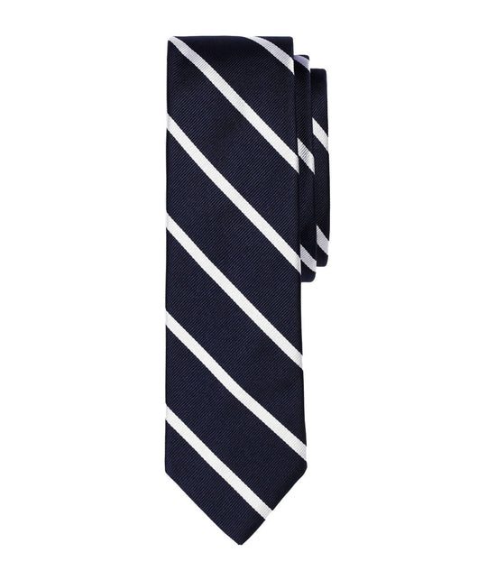 Navy / Silver Repp Silk Tie - Shorter Ties