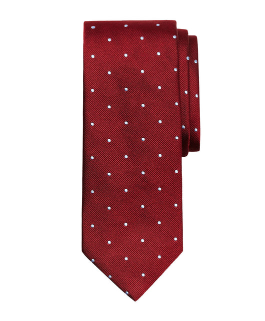 Burgundy Dotted Silk Tie - Shorter Ties