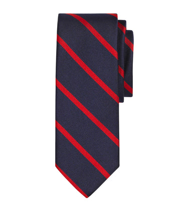 Navy / Red Repp Silk Tie