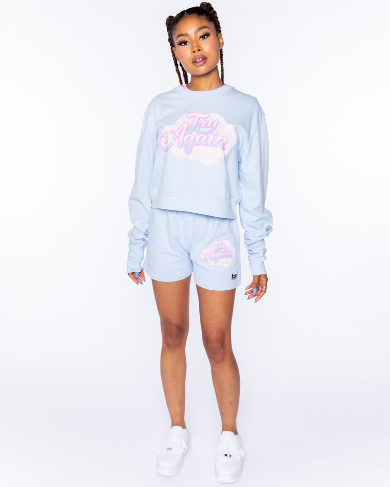 Try Again Blue Crop Crewneck