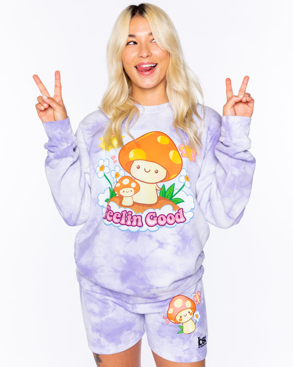 Feelin Good Purple Tie-Dye Crewneck