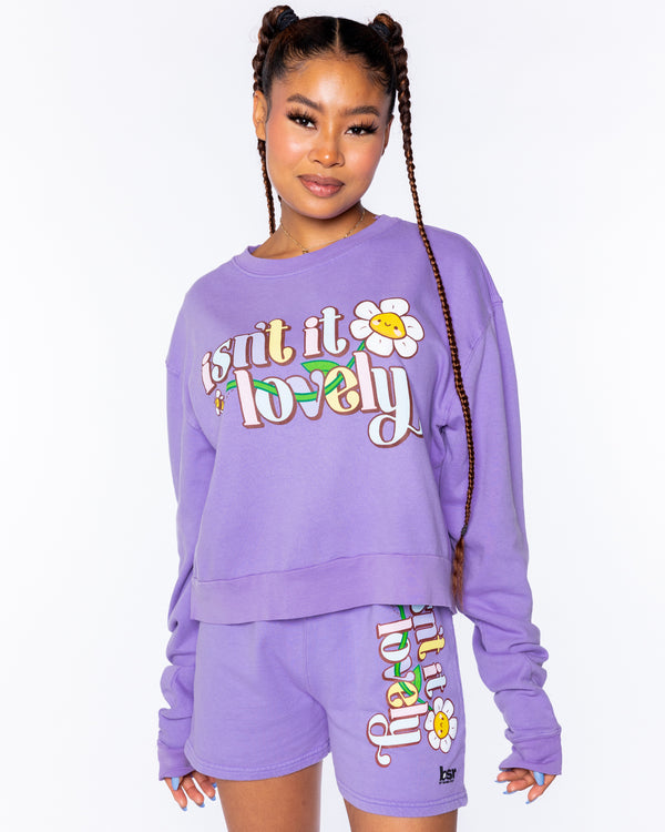Lovely Pigment-Dyed Violet Crop Crewneck