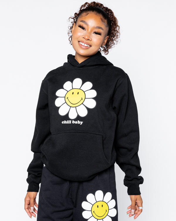 Smiley Chill Baby Black Hoodie