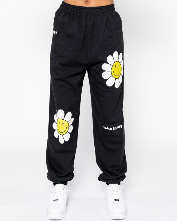 Smiley Take it Easy Sweatpants, Black