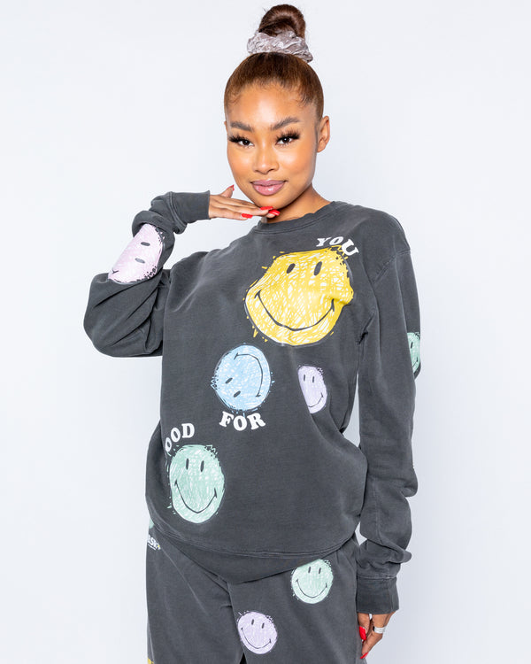 Smiley Good For You Crewneck, Black