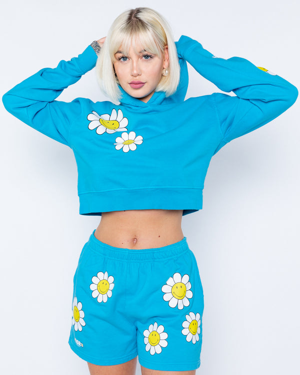Smiley One Of Those Daze Crop Hoodie, Blue