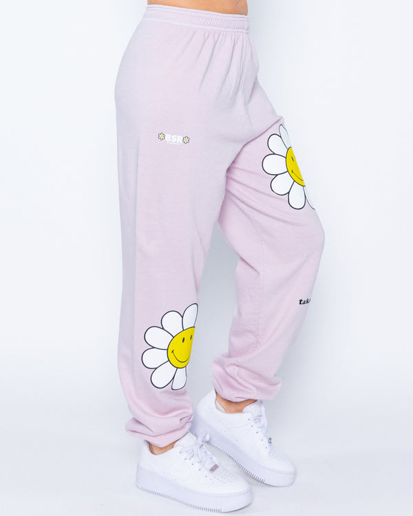 Smiley Take It Easy Sweatpants, Lavender