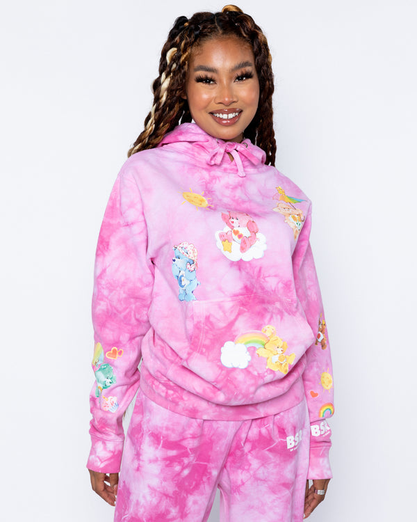 Happy Thoughts Pink Tie-Dye Hoodie