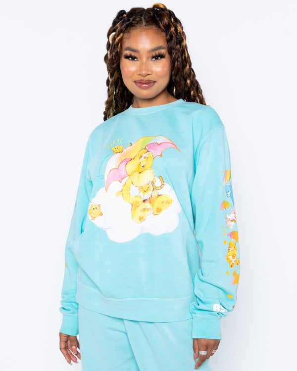 Raining Care Bears Teal Crewneck