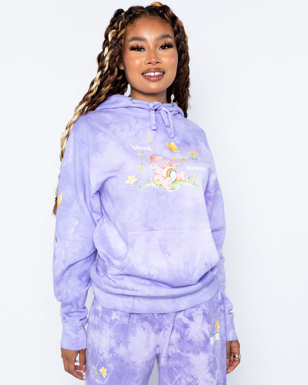 Think Happy Purple Tie-Dye Hoodie