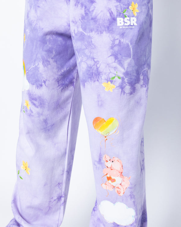 Think Happy Purple Tie-Dye Sweatpants