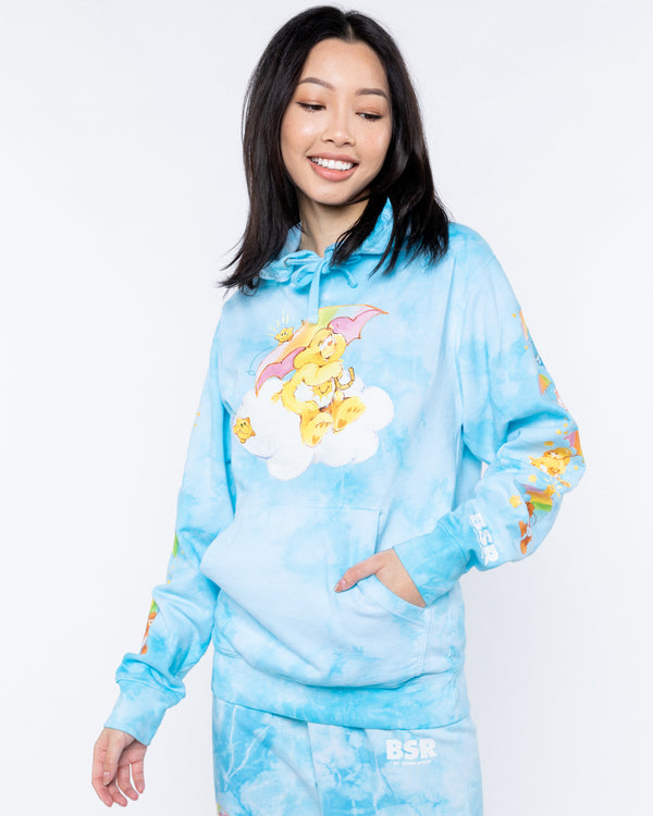 Raining Care Bears Blue Tie-Dye Hoodie