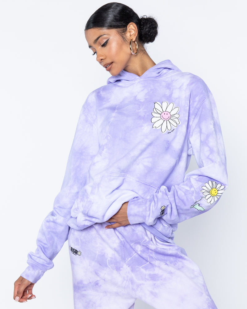Smiley In Bloom Purple Hoodie