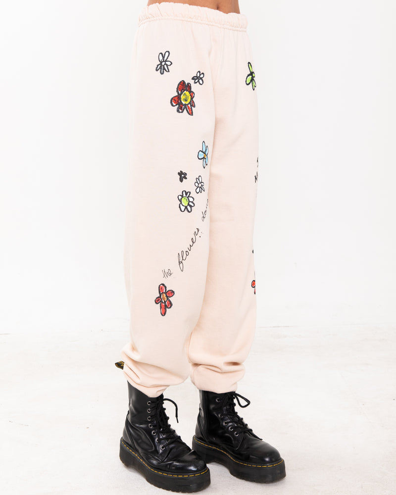 Flower Power Natural Sweatpants
